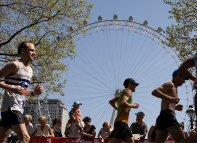 Runners taking part in a race across London
