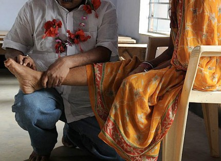 A woman receiving treatment at the centre