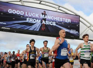Runners in the ASICS Greater Manchester Marathon