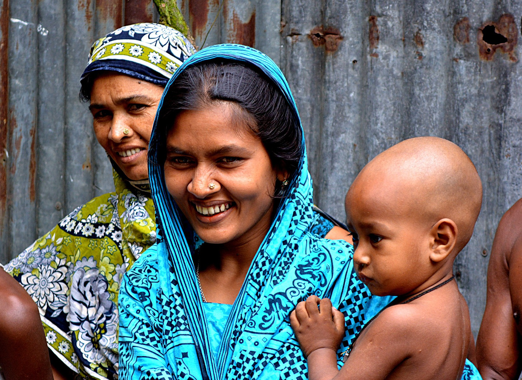 A woman and her family in Bangladesh