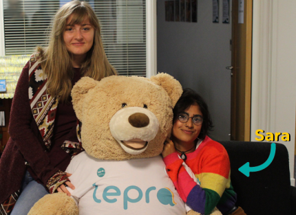 Sara with the Lepra teddy in the head office