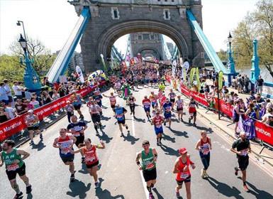 London Marathon image - runners over Tower Bridge