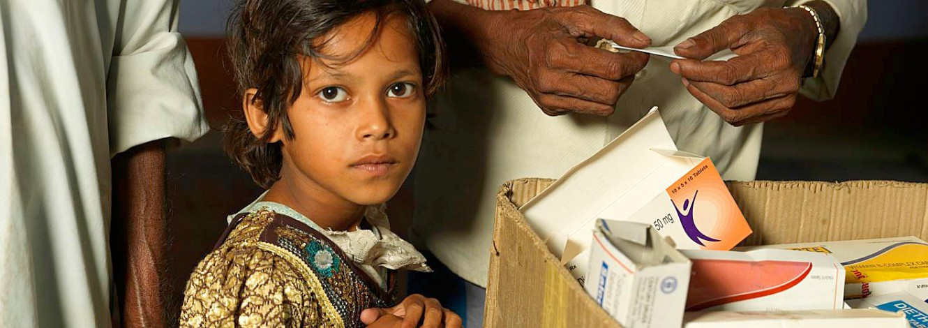 A child receiving medication