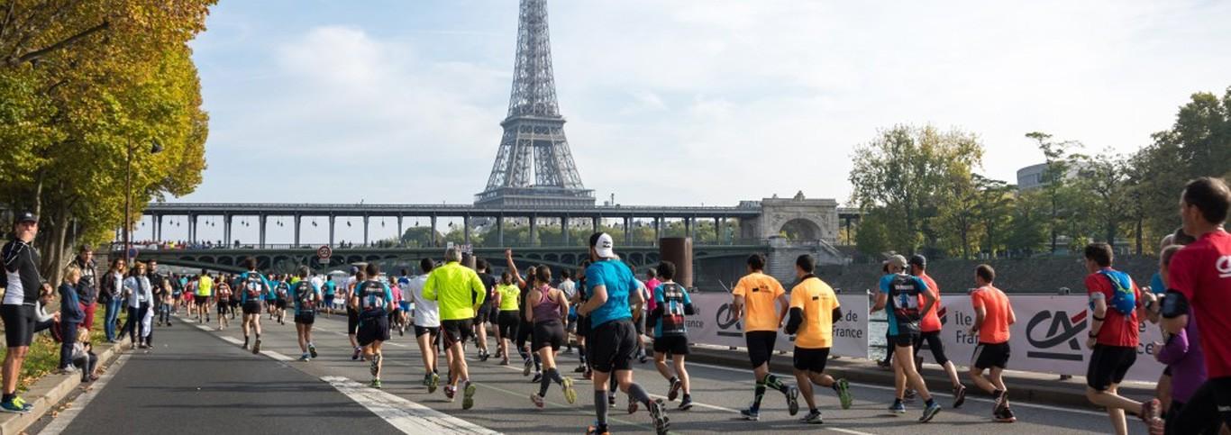 Runners in the Paris Marathon