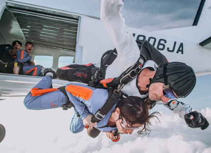 A person doing a skydive
