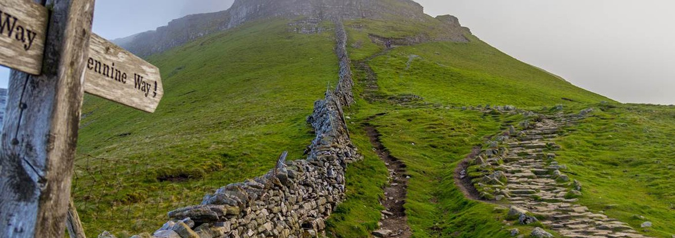Photo looking up Pennine Way in Yorkshire