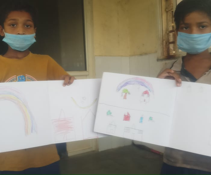 Childrens drawings at COVID centre